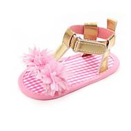 baratos Sapatos de Menina-Para Meninas Sapatos Couro Ecológico Verão Primeiros Passos Sandálias Flor / Velcro para Bebê Fúcsia / Prateado / Rosa claro / Estampa Colorida