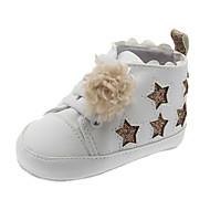 baratos Sapatos de Menina-Para Meninas Sapatos Couro Ecológico Primavera & Outono Primeiros Passos Tênis Elástico / Pom Pom para Bebê Branco