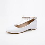 baratos Sapatos de Menina-Para Meninas Sapatos Couro Ecológico Primavera & Outono Sapatos para Daminhas de Honra Rasos Pérolas para Infantil / Adolescente Branco / Preto