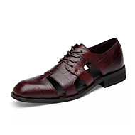 baratos Sapatos de Tamanho Pequeno-Homens Sapatos Confortáveis Pele Napa Verão Casual Oxfords Preto / Vinho