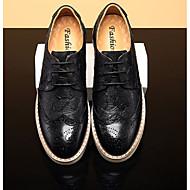baratos Sapatos Masculinos-Homens Sapatos Confortáveis Pele Napa Primavera Verão Casual Tênis Preto / Castanho Escuro
