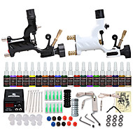 cheap Tattoos & Body Art-Tattoo Machine Starter Kit - 2 pcs Tattoo Machines with 20 x 5 ml tattoo inks, Professional, Safety, Easy to Install Alloy LCD power supply Case Not Included 2 rotary machine liner & shader