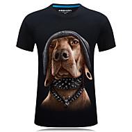 Herre - 3D / Dyr Trykt mønster T-shirt Sort XXXXL