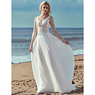 A-Line V Neck Sweep / Brush Train Lace / Tulle Made-To-Measure Wedding Dresses with Lace / Ruffles by LAN TING BRIDE®