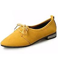 baratos Sapatos Femininos-Mulheres Sapatos Couro Ecológico Verão Com Laço Oxfords Sem Salto Dedo Apontado Preto / Amarelo / Verde