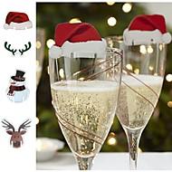 Χαμηλού Κόστους Dining Room-Χριστούγεννα σημάδι σημαία Χριστούγεννα καπέλο οδοντογλυφίδα σημαία διακόσμηση τροφίμων Χριστουγεννιάτικα στολίδια