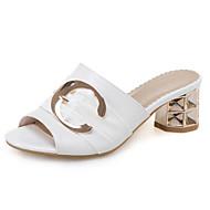 baratos Sapatos Femininos-Mulheres Sapatos Confortáveis Couro Sintético Verão Sandálias Salto Robusto Branco / Preto