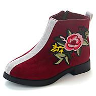 baratos Sapatos de Menina-Para Meninas Sapatos Cetim Primavera & Outono Conforto / Botas da Moda Botas Caminhada Flor de Cetim para Infantil Rosa claro / Camel / Vinho / Botas Curtas / Ankle