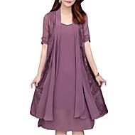 Жен. Большие размеры Свободный силуэт Из двух частей Платье - Однотонный, Кружева До колена