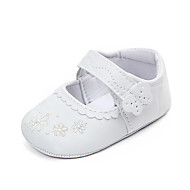 baratos Sapatos de Menina-Para Meninas Sapatos Couro Ecológico Verão Primeiros Passos Rasos Velcro para Bebê Branco
