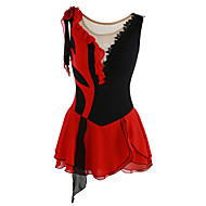 cheap -Figure Skating Dress Women's / Girls' Ice Skating Dress As Picture Patchwork Asymmetric Hem Spandex Stretchy Leisure Sports / Competition Skating Wear Breathable, Handmade Fashion Sleeveless Ice