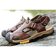 baratos Sapatos Masculinos-Homens Sapatos Confortáveis Pele Verão Casual Sandálias Preto / Marron