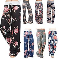 Women's Palazzo Wide Leg Yoga Pants Rose Red Blue Dark Navy Sports Floral Print Bottoms Zumba Fitness Plus Size Activewear Soft Micro-elastic