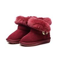 baratos Sapatos de Menina-Para Meninas Sapatos Pêlo de Coelho / Camurça Inverno Botas de Neve Botas Mocassim para Infantil / Bébé Vinho / Botas Curtas / Ankle / Festas & Noite