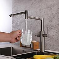 Robinet de Cuisine - Deux poignées un trou Nickel brossé Débit Normal / Pot Filler Montage Moderne Kitchen Taps