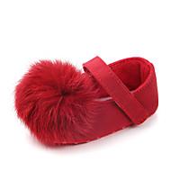 baratos Sapatos de Menina-Para Meninas Sapatos Algodão Verão Primeiros Passos Rasos Velcro / Pom Pom para Bebê Roxo / Marron / Vermelho