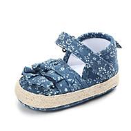 tanie Obuwie dziewczęce-Dla dziewczynek Obuwie Bawełna Lato Buty do nauki chodzenia Buty płaskie Tasiemka na Dziecięce Ciemnoniebieski / Jasny niebieski