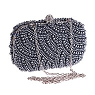 Women's Bags Polyester / Alloy Evening Bag Crystals / Pearls Floral Print Beige / Gray / Silver