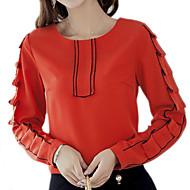 Dame - Ensfarvet Patchwork Basale Bluse