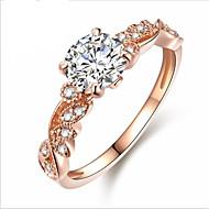 Dame Kvadratisk Zirconium Stilfuldt Forlovelsesring - Blomst Stilfuld, Sød, Elegant 6 / 7 / 8 Rose Guld Til I-byen-tøj / Valentine