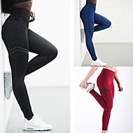 Femme Pantalon de yoga Rouge Vert Bleu Des sports Couleur unie Spandex Taille Haute Collants Zumba Fitness Entraînement de gym Tenues de Sport Evacuation de l'humidité Compression Butt Lift Haute