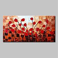 billige Nyheter-Hang malte oljemaleri Håndmalte - Abstrakt / Blomstret / Botanisk Moderne Inkluder indre ramme / Stretched Canvas