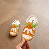 baratos Sapatos de Menina-Para Meninas Sapatos Couro Ecológico Verão Primeiros Passos Sandálias Velcro para Bebê Branco / Laranja