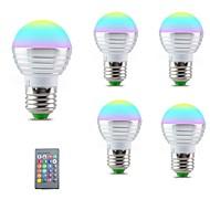 billige Globepærer med LED-5pcs 3 W 250 lm E14 / E26 / E27 LED-globepærer 1 LED perler SMD 5050 Smart / Mulighet for demping / Fjernstyrt RGBW 85-265 V