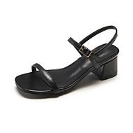 baratos Sapatos Femininos-Mulheres Sapatos Confortáveis Couro Ecológico Verão Sandálias Salto Robusto Preto / Bege / Amêndoa