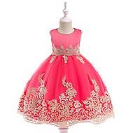 Παιδιά Κοριτσίστικα Ενεργό / Γλυκός Πάρτι / Αργίες Μονόχρωμο Κεντητό Αμάνικο Ως το Γόνατο Βαμβάκι / Πολυεστέρας Φόρεμα Πράσινο του τριφυλλιού