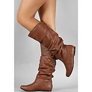 billige -Dame Fashion Boots PU Efterår vinter Støvler Flade hæle Rund Tå Støvletter Spænde Grå / Brun / Kakifarvet