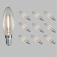 Χαμηλού Κόστους LED Λάμπες-10pcs 1.5 W 100 lm E14 LED Λάμπες Πυράκτωσης C35 1 LED χάντρες COB Διακοσμητικό Θερμό Λευκό / Ψυχρό Λευκό 220-240 V