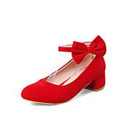 tanie Small Size Shoes-Damskie Buty pumpy Zamsz Wiosna i jesień Słodkie Szpilki Masywny obcas Okrągły Toe Klamra Czarny / Czerwony / Ślub / Impreza / bankiet