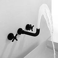 billige Rabatt Kraner-Baderom Sink Tappekran - Utbredt Malte Finishes Vægmonteret To Håndtak tre hullBath Taps