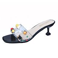 baratos Sapatos Femininos-Mulheres Sapatos Couro Ecológico Verão Chanel Sandálias Salto Sabrina Branco / Preto / Vermelho