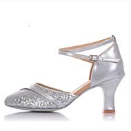 billige Sko til latindans-Dame Sko til latindans Syntetisk Høye hæler / Joggesko Kubansk hæl Dansesko Gull / Sølv