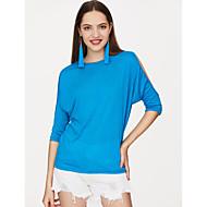 Dame - Ensfarvet Bomuld Plusstørrelser T-shirt / Udskæring