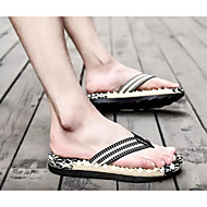 baratos Sapatos Masculinos-Homens Sapatos Confortáveis Linho Verão Esportivo Chinelos e flip-flops Massgem Listrado Vermelho / Verde / Azul