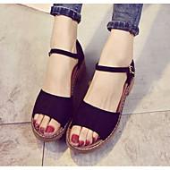 baratos Sapatos Femininos-Mulheres Sapatos Confortáveis Couro Ecológico Primavera Verão Sandálias Salto Robusto Branco / Preto / Cinzento