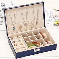 baratos Armazenamento de Bijuteria-Armazenamento Organização Coleção de jóias PU Leather Forma do retângulo Portátil