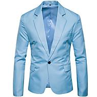 Herre Fest Forretning Normal Blazer, Ensfarget Skjortekrage Langermet Polyester Militærgrønn / Kakifarget / Marineblå XL / XXL / XXXL / Bedriftsformell / Tynn
