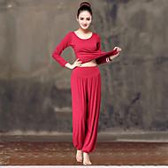 Pentru femei Scoateți gâtul Harem Costum de yoga Roșu și alb Negru / Alb Vișiniu Sport Culoare solidă Modal Elastan Talie Inaltă Pantaloni Topuri Costume Zumba Yoga Dans Manșon Lung Mărime Plus Size