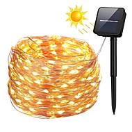 billiga Belysning-zdm 100 leds 10m / 33ft silver koppar tråd solströmsströmsljus utomhus starry fairy stränglampor med 8 lägen vattentät för bröllops trädgård hem födelsedagsfest uteplats gräsmattor
