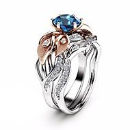 Γυναικεία Μπλε Ζαφειρένιο Γλυπτό προσομοίωση Δαχτυλίδι Σετ δαχτυλιδιών Χαλκός Επιμεταλλωμένο με Πλατίνα Προσομειωμένο διαμάντι Λουλούδι Flower Shape κυρίες Μοντέρνο Μοντέρνα Πολύχρωμα Μοδάτο Δαχτυλίδι