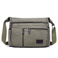 Men's Bags Canvas Shoulder Bag Zipper Solid Color Coffee / Army Green / Khaki