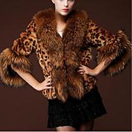 Žene Dnevno Osnovni Jesen zima Kratak Krzneni kaput, Leopard Preklapajućih Collar 3/4 rukava Umjetno krzno Braon XL / XXL / XXXL