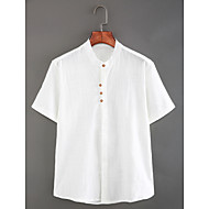 cheap -Men's Chinoiserie Linen Slim Shirt - Solid Colored Basic Standing Collar White XL / Short Sleeve / Summer