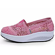 Női Kényelmes cipők Csipke Nyár Sportcipők Swing cipők Lapos Fekete / Sötétkék / Fukszia