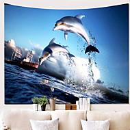 billige Veggdekor-Strand Tema / Delfin Veggdekor 100% Polyester Moderne Veggkunst, Veggtepper Dekorasjon