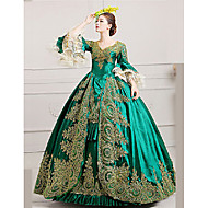 cheap -Marie Antoinette Rococo 18th Century Costume Women's Dress Party Costume Masquerade Ball Gown Green Vintage Cosplay Lace Satin Party Prom Poet Sleeve Floor Length Ball Gown Plus Size Customized